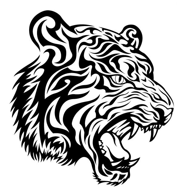 ... un feroz tigre tribal en blanco y negro. Ideal para colorear y tatuar