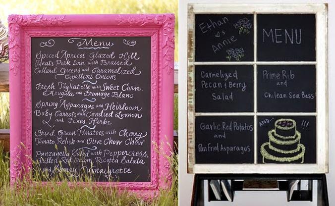 Pizarra con menú de boda/Wedding menu chalkboard