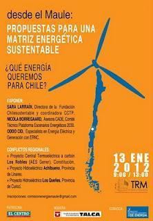 Ciudadanía organizada realizará seminario de energía en el Maule