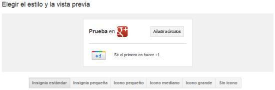 Configuración de la insignia de Google Plus para compartir la página.