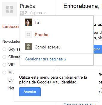 Cambiar de perfil a página en Google Plus.