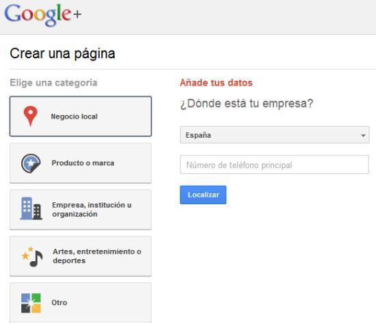 Elegir categoría de página en Google Plus.