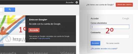 Accediendo a la cuenta de Google a través de Google Plus