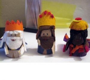 Reyes Magos con los corchos de vino...