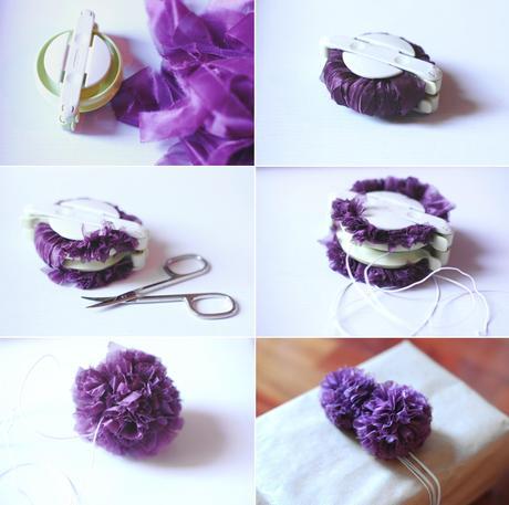 DIY. Pompones de tela/Fabric pom-poms
