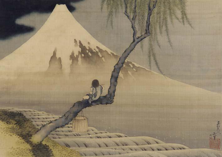 Niño mirando el monte Fuji, una pintura de Katsushika