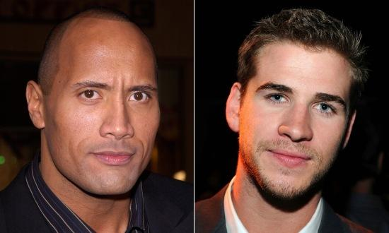 Liam Hemsworth y Dwayne Johnson en Empire State