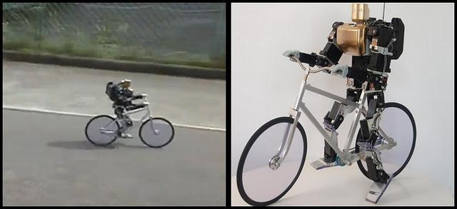 Un pequeño robot es un experto en viajar en bicicleta.