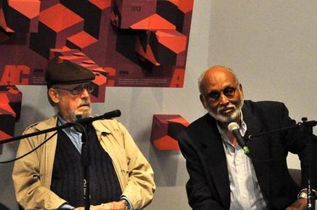 Roberto Fernández Retamar y Esteban Morales, este viernes en la conferencia de prensa. Foto: Yuris Nórido