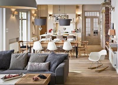 Cocina + comedor + living rustico - Paperblog