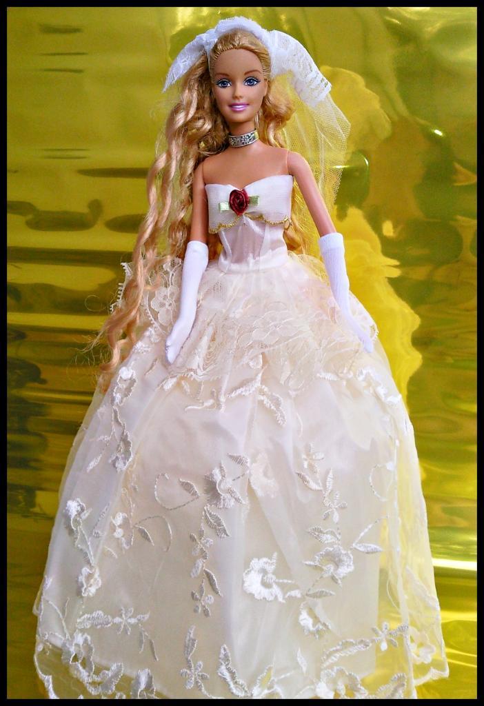 Único Crochet Patrón De Vestido De Novia Barbie Ornamento - Manta de ...