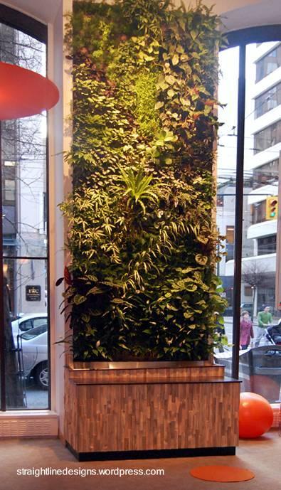 Jardines verticales de interiores.