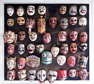 English: Various Balinese Topeng (dance masks)...