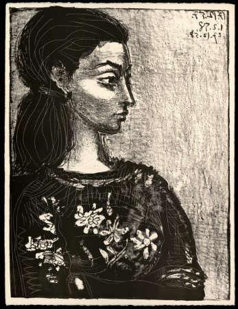 Pablo Picasso 'Figura con blusa de flores'.