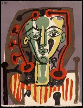 Pablo Picasso 'Figura con blusa de rayas'.