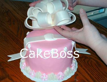 la colocación de arco en la torta