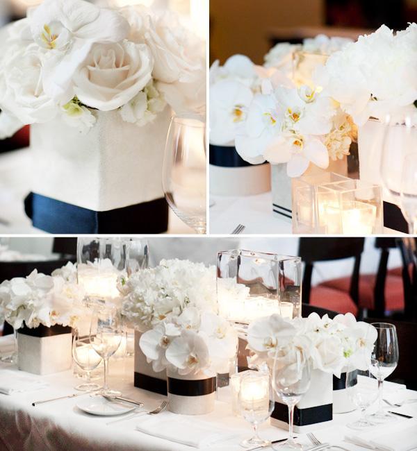 Centros de mesa en blanco y negro paper