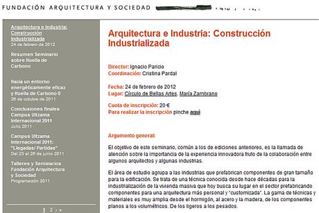 """Hoy, 24 de febrero, vídeo en directo – Seminario """"Arquitectura e Industria: Construcción Industrializada   Fundación Arquitectura y Sociedad"""""""