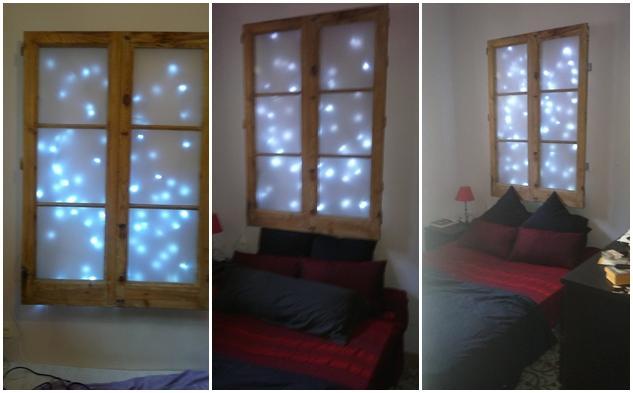Un cabecero hecho con una ventana y luces led paperblog for Lamparas cabezal cama