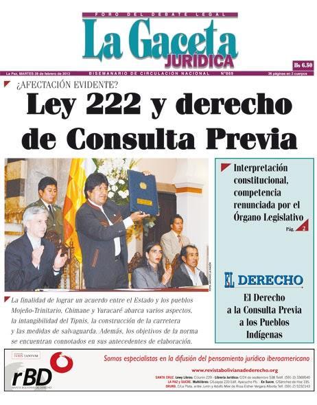 La Ley 222 y el Derecho a la Consulta Previa en Bolivia