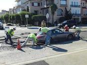 Porsche atascado pavimento FAIL