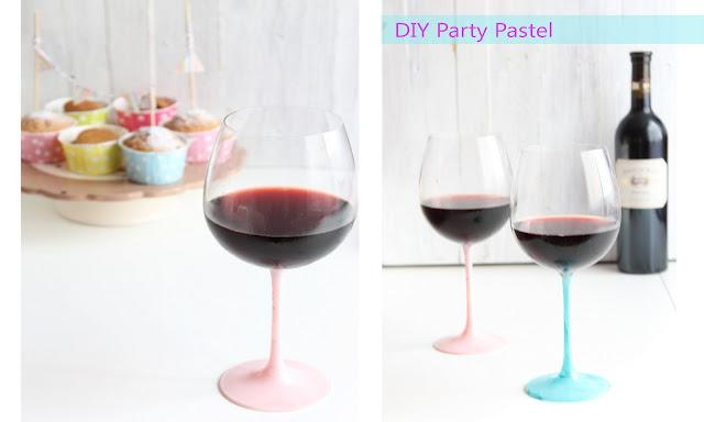 DIY Decoración - Copa de vino color pastel