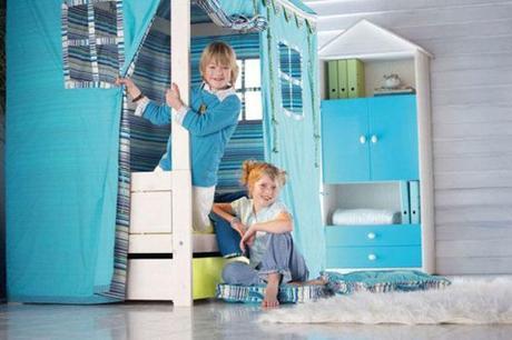tienda de campaña azul para niños