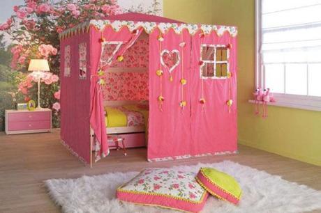 tienda de campaña rosa para niños