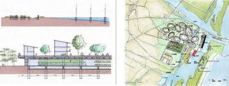 Composición facilitada por el arquitecto japonés Shoichi Hryu del proyecto de una ciudad imaginada como una