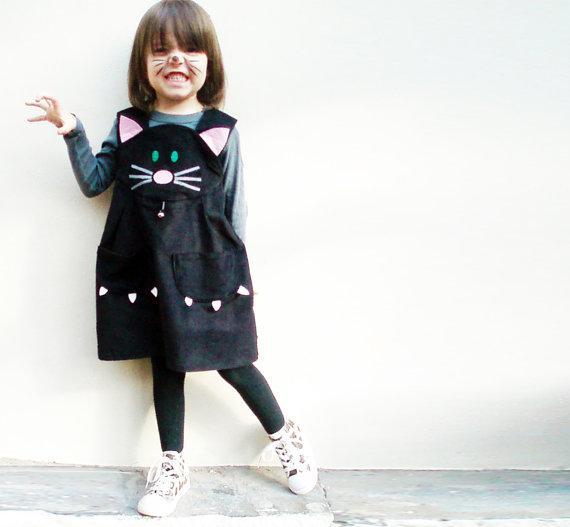 vestido de gata para niña hecho a mano